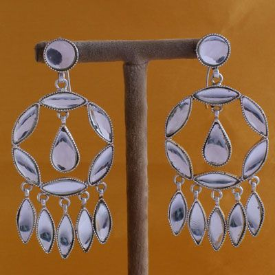 Pure Silver Chand Bali Stones Earrings