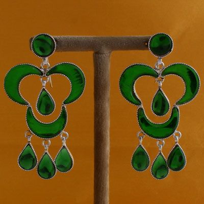 Antique Styled Sterling Silver Stone Earrings
