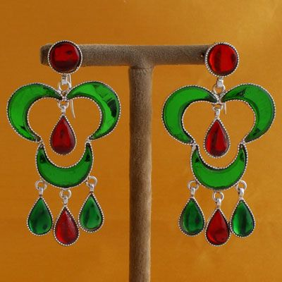 Red And Green Colored Stone Pure Silver Earrings