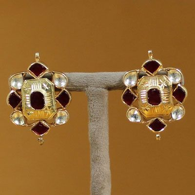 Pure Silver Gold Plated Kemp Stone Stud Earrings