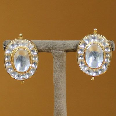 Gold Plated silver stud with kundan