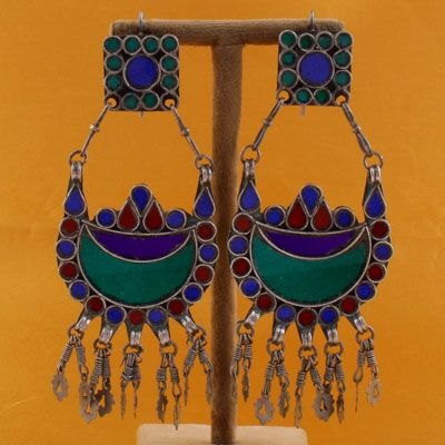 Sterling Silver Earrings With Multi Coloured Stone