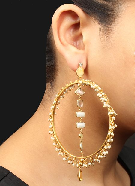 ROUND SHAPE GOLD TONED SILVER EARRING WITH STONES & PEARL DANGLING