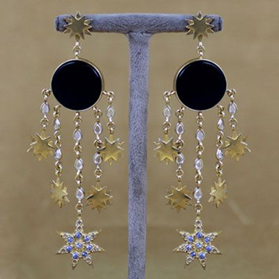 Gold Polished Silver Earring With Black Onyx