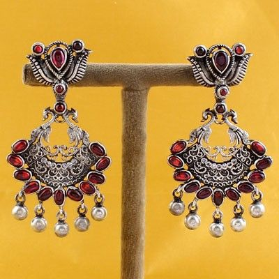 Earrings In Silver With Stones