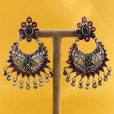 Red & Green Stone Temple Silver Earrings With Ghungroo