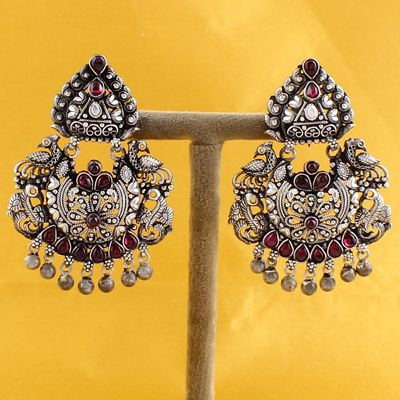 Pecock Style Silver Earrings With Ghungroo