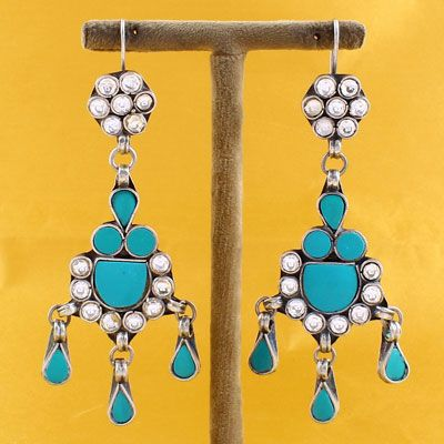 STERLING SILVER DANGLER EARRING WITH TURQUOISE STONES