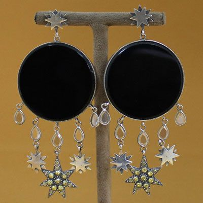 PURE SILVER EARRING WITH EXTRA LARGE CABOCHON BLACK ONYX