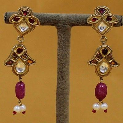 Pure Silver Kundan Earrings For Girls