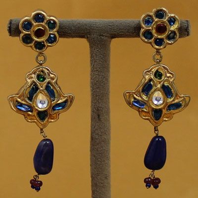 Exclusive Gold Plated Stone Silver Earrings