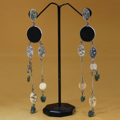 Multi Layered Silver Earring With Black Onyx