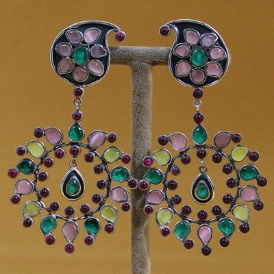 Sterling Silver Multi Color Stones Earring