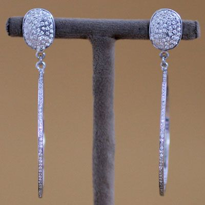 STERLING SILVER ROUND SHAPE STUD EARRING WITH ZIRCON