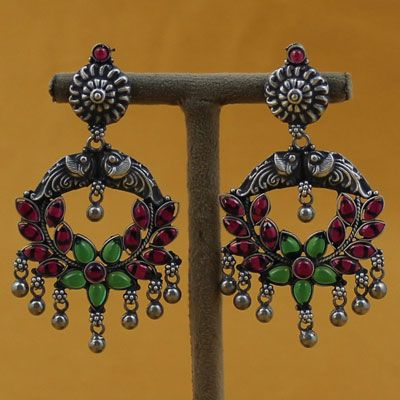 Oxidized Silver Earrings With Stones