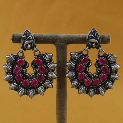 Oxidized Silver Earrings With Spinel Stones