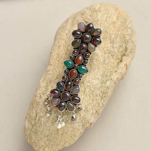 Pure Silver Keyring With Multi Color Stones & Anklet Bells
