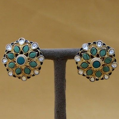 Antique Floral Pure Silver Stud Earrings