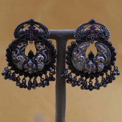 PEACOCK MOTIF STERLING SILVER EARRING WITH STONES & GHUNGROO