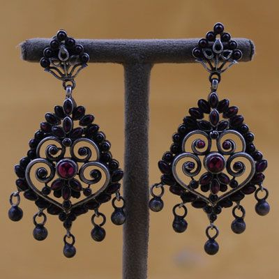 Oxidized Silver Earrings With Kemp Stones