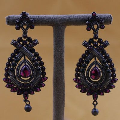 Oxidized Silver Earrings With Spinel Stone
