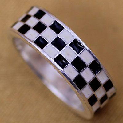Checkered Black & White Pure Silver Rings