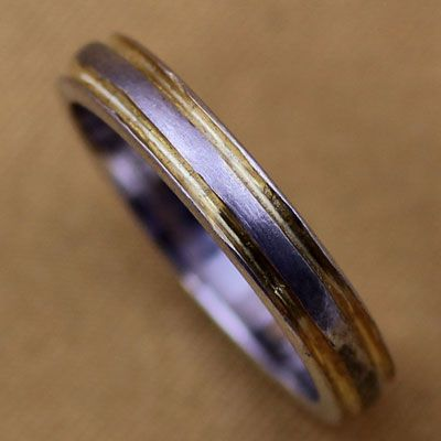 Gold Line Pure Silver Ring