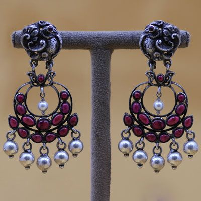 Oxidised Silver Earrings With Stones