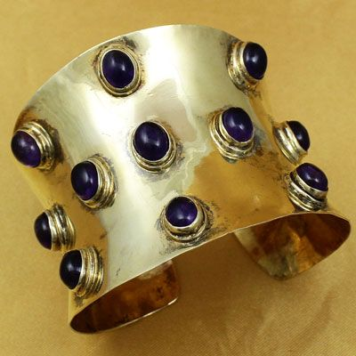 Gold Polish Silver Cuff Bangles With Stones
