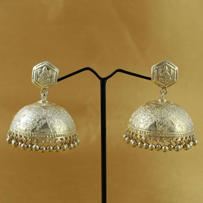Traditional Silver Temple Jhumka