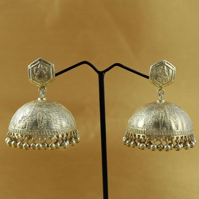 Indian Traditional Silver Jhumkas