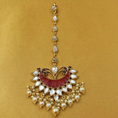 Silver Stone Maang Tikka With Pearl