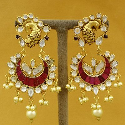 Silver Red Stone Gold Polish Earring