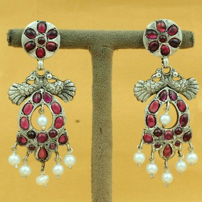 Pure Sterling Silver Red Stone Earring