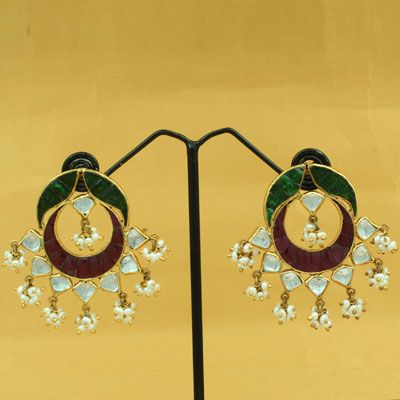 Silver Earring With Stones And Pearl