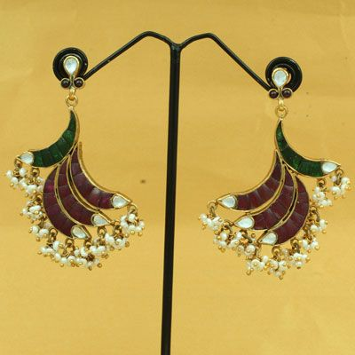 Pure Silver Gold Plated Stone Earring