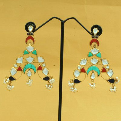 Gold Plated Silver Stone Earring