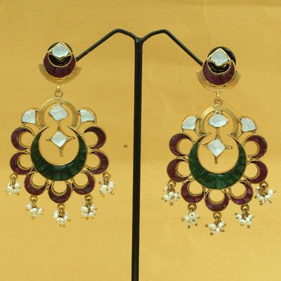 Gold Plated Silver Earring With Stones