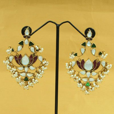 Gold Plated Silver Earring With Pearl
