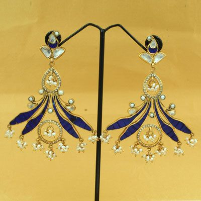 Gold Plated Silver Blue Stone Earring