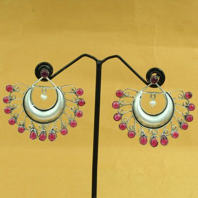 Sterling Silver Red Stone Earring