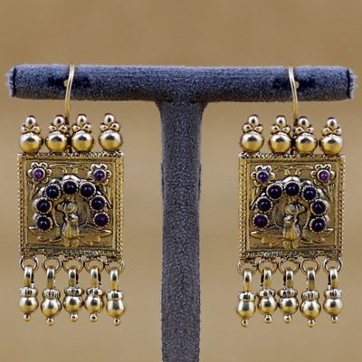 Gold Polished Silver Earring