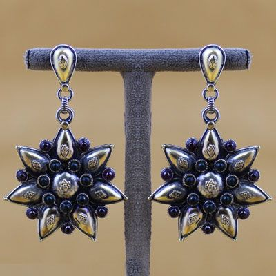 Gold Polish Silver Earring With Stone