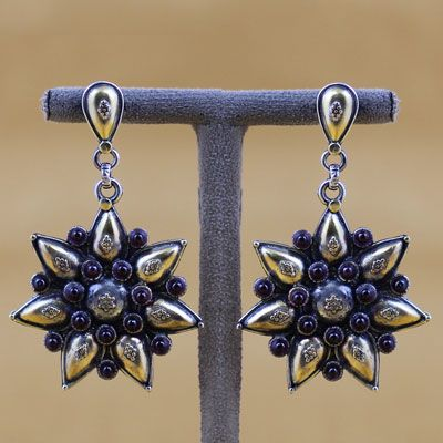 Gold Plated Silver Earring With Stone