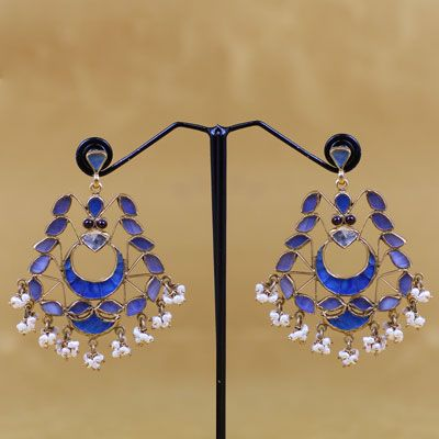 Pure Silver Blue Stone Earring