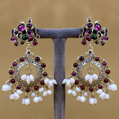Silver Red Stone And Pearl Earring
