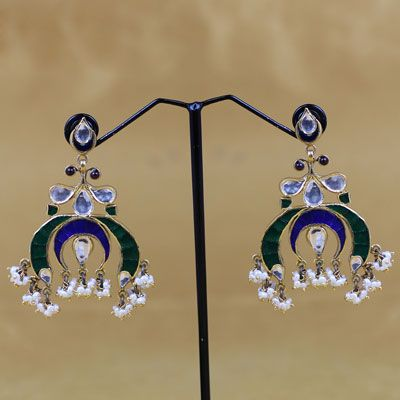 Antique Silver Stone Earring