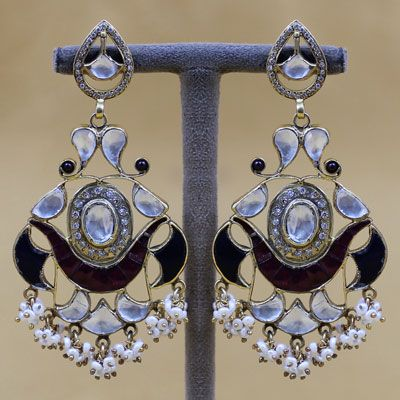 Antique Styled Sterling Silver Earrings With Kundan And Pearl