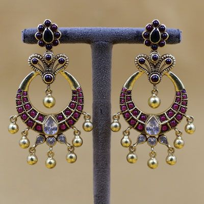 INDIAN CRESENT SHAPE GOLD PLATED EARRING