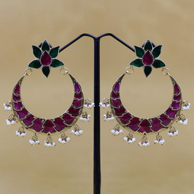 HALF MOON WITH FLORAL DELIGHTS EARRING